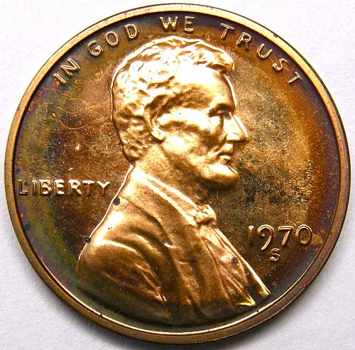 1970 S Lincoln Memorial Cent Large Date#3 Bullseye Toned Obverse