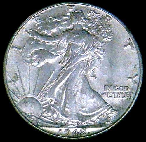 1942 Walking Liberty Half Dollars.  V2P7R3