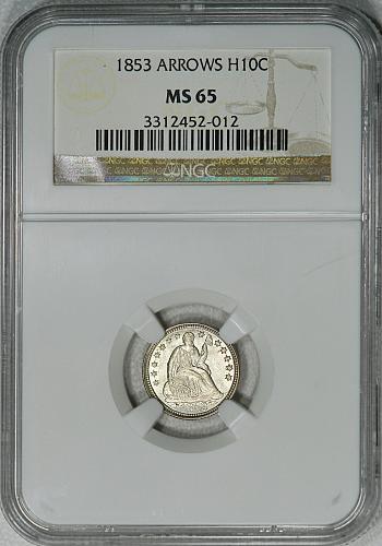 1853 Arrows NGC MS65 Seated Half Dime, strict Gem BU, great luster & eye appeal!