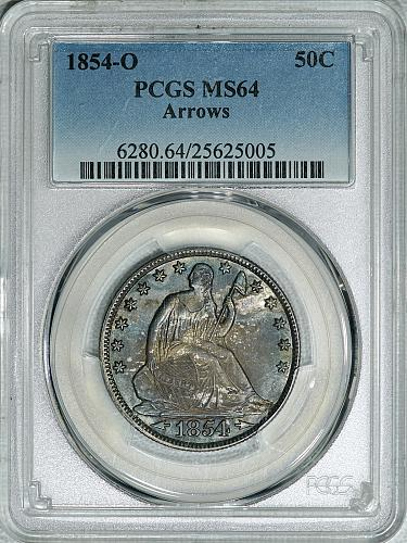 1854-O PCGS MS64 Seated Half, a super originally toned lustrous satiny near gem