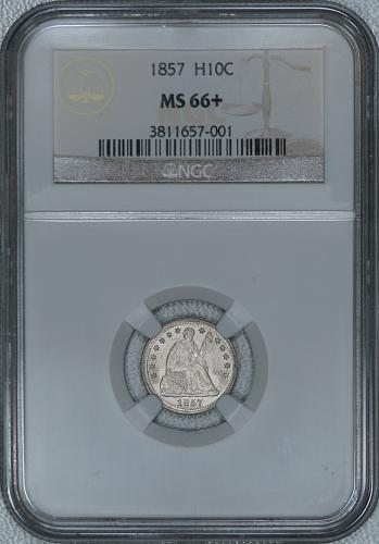 1857 NGC MS66+ Seated Half Dime, lustrous blazing white TOP OF GRADE superb gem