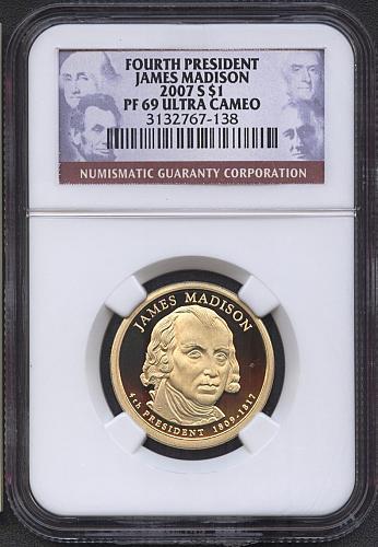 2007 - S  James Madison Pres. Dollar   NGC  PF69UCAM
