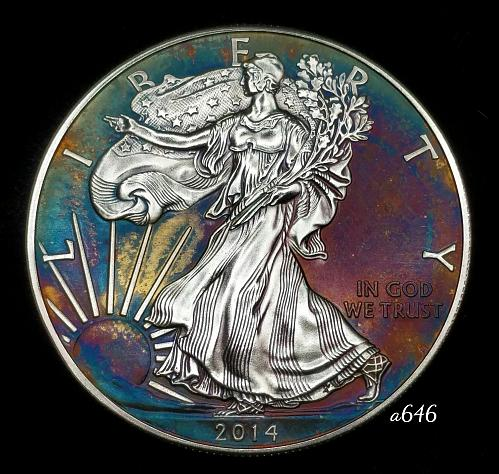 2014 Rainbow Toned Silver American Eagle 1 troy ounce silver Monster toned #a646