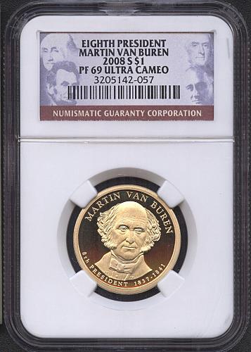 2008 - S  Martin Van Buren  Pres. Dollar   NGC  PF69UCAM