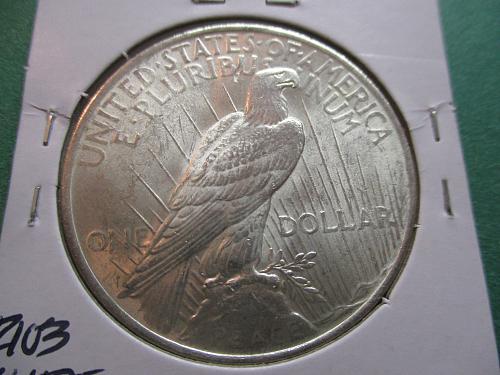 1923  MS61 Peace Dollar.  Item: DP 23-13.