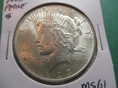 1923  MS61 Peace Dollar.  Item: DP 23-15.