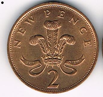 2 New Pence, United Kingdom, 1975