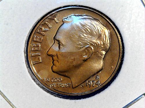 1974 S Proof Roosevelt Dime--Toning