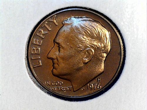 1976 S Proof Roosevelt Dime--Toning (price dropped 8/16/21)