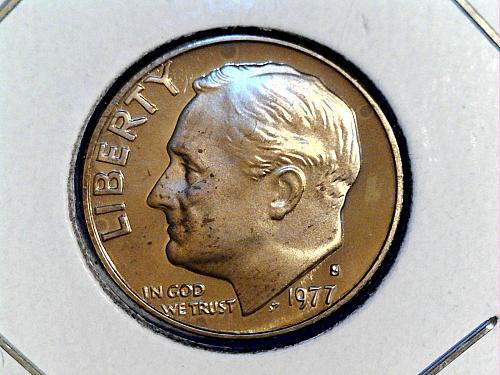 1977 S Proof Roosevelt Dime--Spots