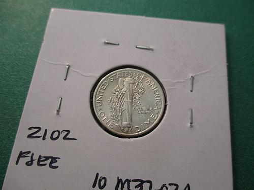 1937  MS62 FB Mercury Dime.  Item: 10 M37-02.