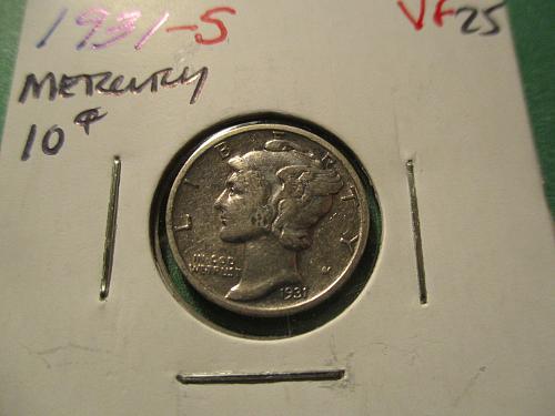 1931-S  VF25 Mercury Dime.  Item: 10 M31S-04.