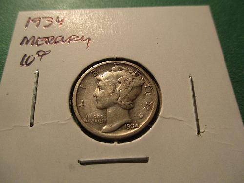 1934  VG10 Mercury Dime.  Item: 10 M34-04.