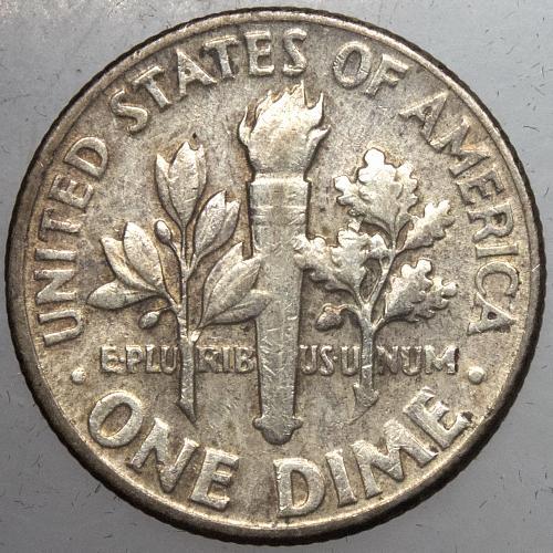 1955 P Roosevelt Dime#3 TONED