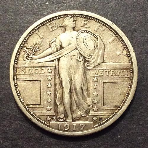 1917 D Type 1 Standing Liberty Quarter, VF imo, see pics and description!