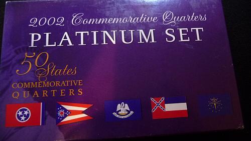 2002 COMMEMORATIVE PLATIMUM QUARTER SET W/BOX