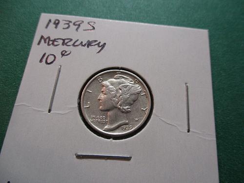 1939-S  AU50 Mercury Dime.  Item: 10 M39S-03.