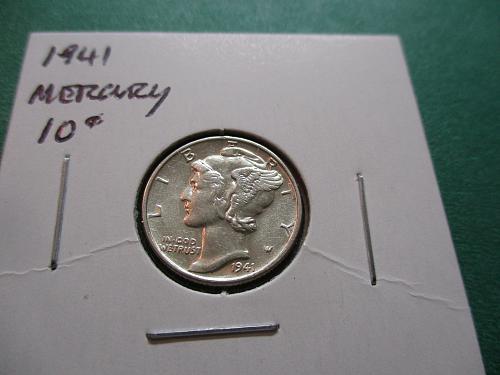 1941  AU55 Mercury Dime.  Item: 10 M41-02,