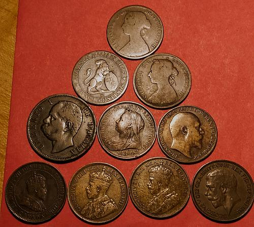 AG TO VF MIXED LOT OF 10 FOREIGN COINS. - 1861 TO 1924