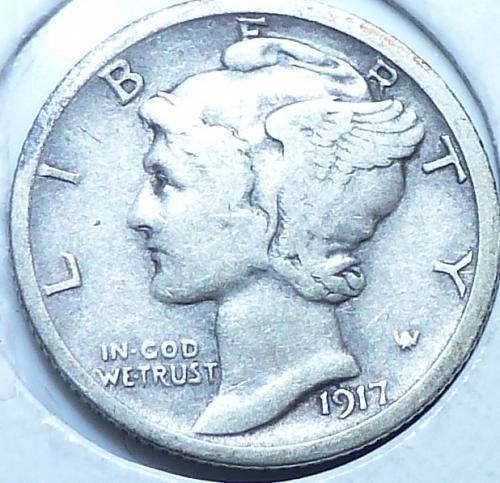 1917-S Extra Fine Mercury Dime   ( S-006)