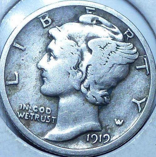 1919-D Very Fine Mercury Dime  VF ( S-010)