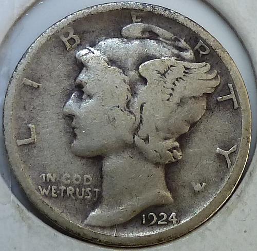 1924-D VERY FINE Mercury Dime  V F (N-213 **)
