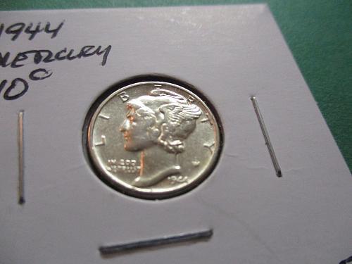 1944  AU50 Mercury Dime.  Item: 10 M44-11.