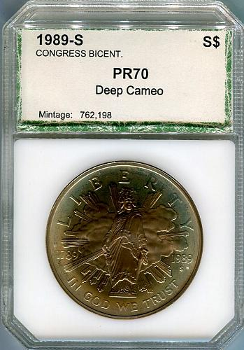 1989-S Congress Bicentennial Silver Dollar  PCI   PR 70 DCAM  TONED