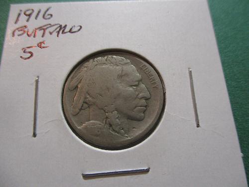 1916  G6 Buffalo Nickel.  Item: 5 B16-06.