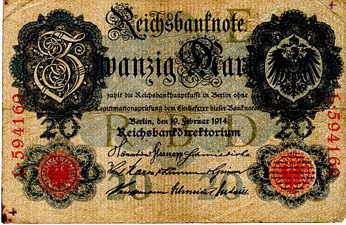 FEBRUARY 19, 1914  GERMANY 20 MARK BANKNOTE