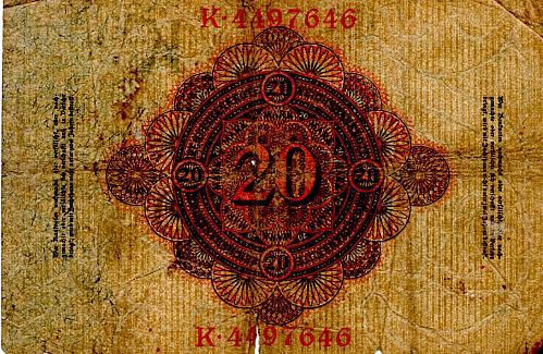 FEBRUARY 19, 1914  GERMANY 20 MARK BANKNOTE