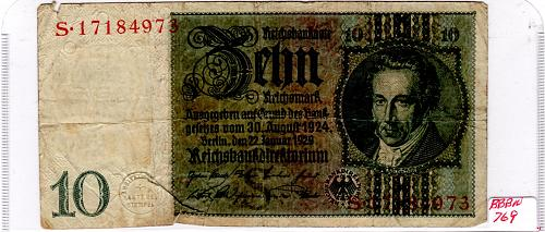 """JANUARY 22, 1929 - ND 1945 GERMANY 10 REICHMARK BANKNOTE """"EMERGENCY REISSUE"""""""