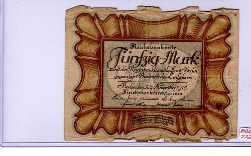 NOVEMBER 30, 1918  GERMANY 50 MARK  BANKNOTE
