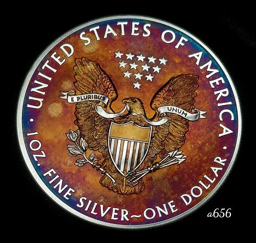 2014 Rainbow Toned Silver American Eagle 1 troy ounce silver Monster toned #a656