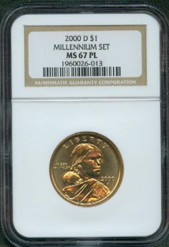 """2000 - D  SACAGAWEA  """"Golden Dollar""""  Millennium Set Coin  NGC    MS 67 PL"""