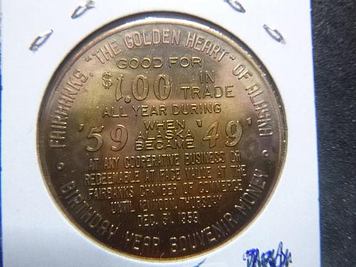 ALASKA THE 49TH STATE 1959 FAIRBACKS 1 DOLLAR TOKEN