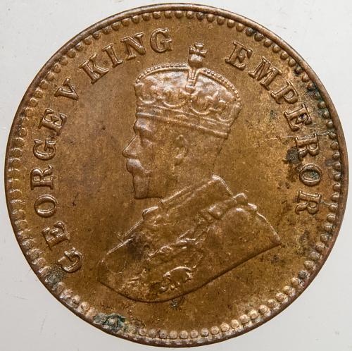 1921 INDIA 1/12 Anna Obverse Die Crack 2:30