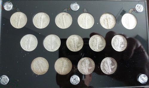 Short 15 Piece Set of BU Mercury Dimes From 1941-P through 1945-S Some FSB