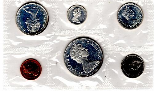 1965 CANADA SIX COIN PROOF-LIKE SET TYPE 1 ($1.00 & CENT)