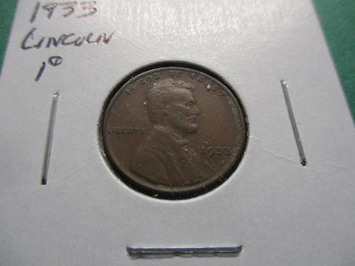 1933  VF25 Lincoln Cent.  Item: 1 L33-01.