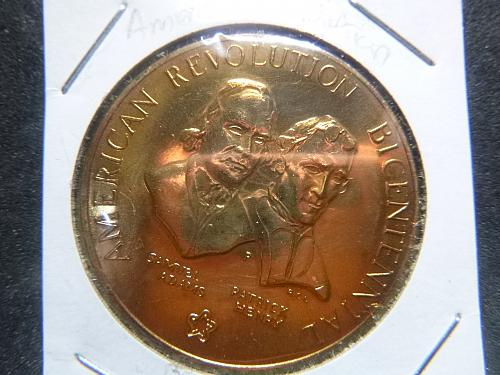 AMERICAN REVOLUTION ADAMS/HENRY BICENTENNIAL 1776-1976 GOLD PLATED COIN