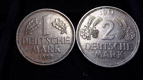 1950-D 1 MARK & 1951-D 2 MARK GERMANY *RARE* COINS IN XF/AU CONDITIONS  C-11-21