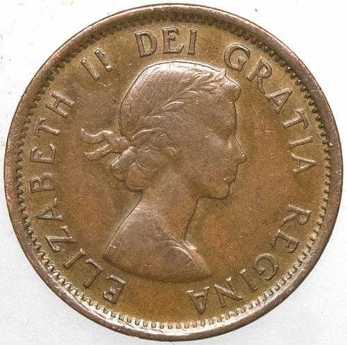 1955 CANADA 1 CENT #1 Hanging 5 Variety
