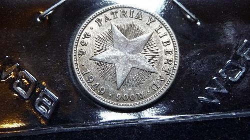 1949 REPUBLICA DE CUBA  10 CENTAVOS SILVER COIN C-12-21