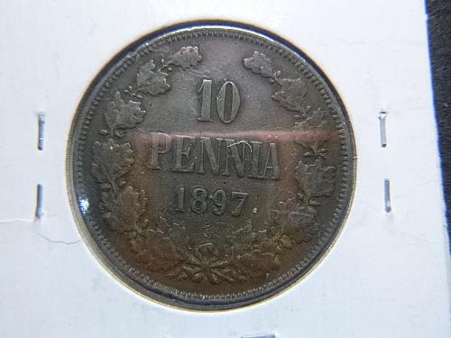 FINLANDS 1897 TEN PENNIA