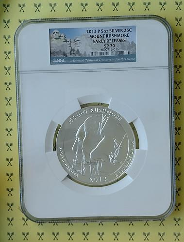2013P 5 Oz SILVER Mount Rushmore National Memorial NGC SP 70 Early Releases