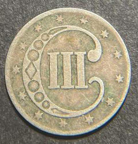 1852 Silver Three Cent Type 1 Trime - No Outlines to Star. V3P3R2