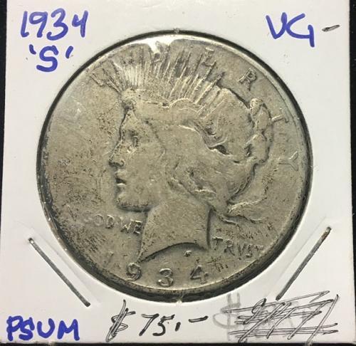 1934 S Peace Dollar VG-  Silver