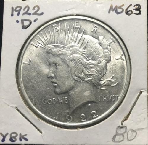 1922 D Peace Dollar  MS63