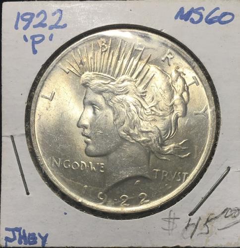 1922 P Peace Dollar  MS60
